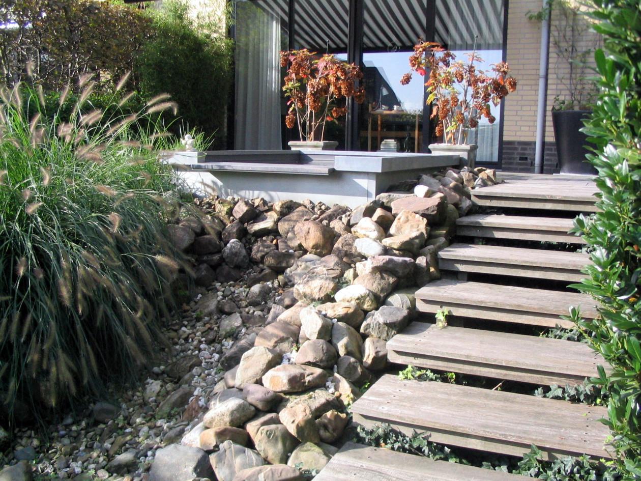 Waterval In Tuin : Prachtige waterval in de tuin in de zomer u stockfoto