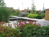 tuin Leiden met veel bloeiende plantenborders