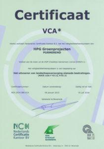 VCA* certificaat HPG Groenprojecten