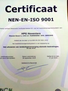ISO 9001 certificaat HPG Hoveniers bv
