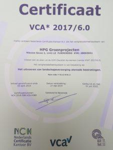 VCA HPG Groenprojecten BV